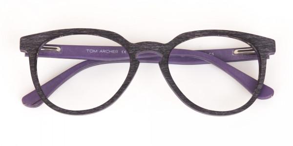 Purple Dark Violet Wood Glasses Frame Unisex-6