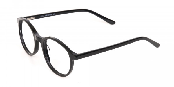 Black Acetate Round Eyeglasses For Unisex-3