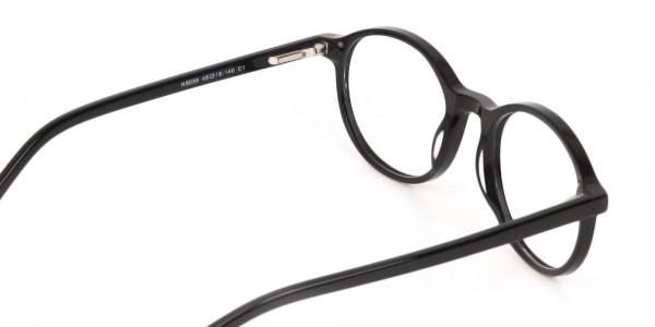 Black Acetate Round Eyeglasses For Unisex-5