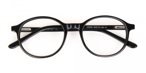 Black Acetate Round Eyeglasses For Unisex-6