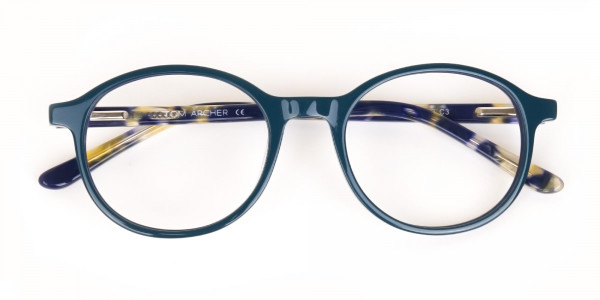 Turquoise Round Glasses With Blue & Green Tortoise-7