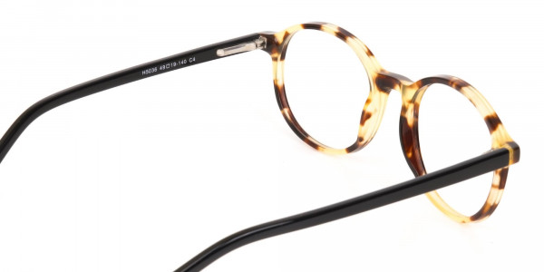 Tortoise and Black Round Eyeglasses Frame Unisex-5