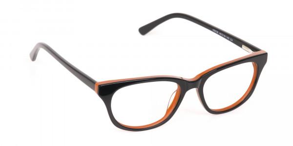 Petite Black and Orange Rectangular Glasses -2