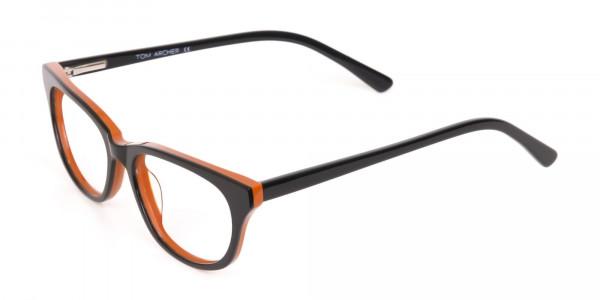 Petite Black and Orange Rectangular Glasses -3