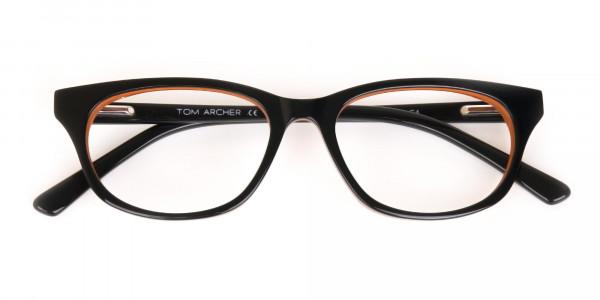 Petite Black and Orange Rectangular Glasses -7