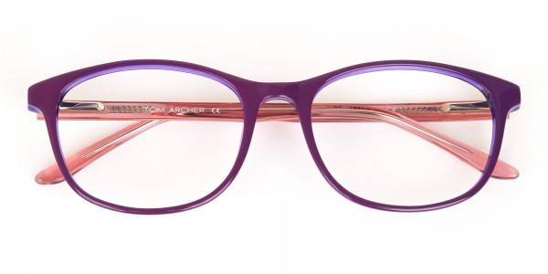Women Raisin Purple Rectangle Glasses -6