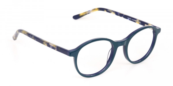 Turquoise Round Glasses With Blue & Green Tortoise-2
