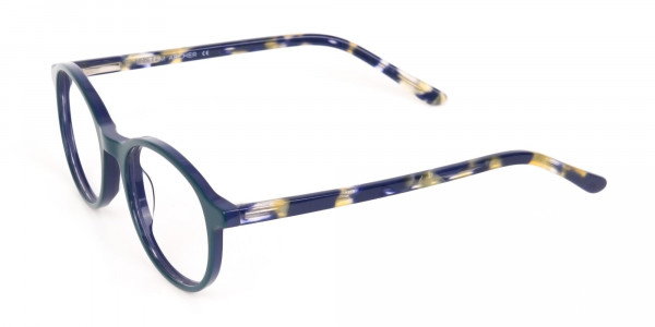 Turquoise Round Glasses With Blue & Green Tortoise-3