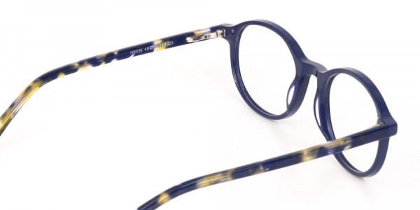 Turquoise Round Glasses With Blue & Green Tortoise-5