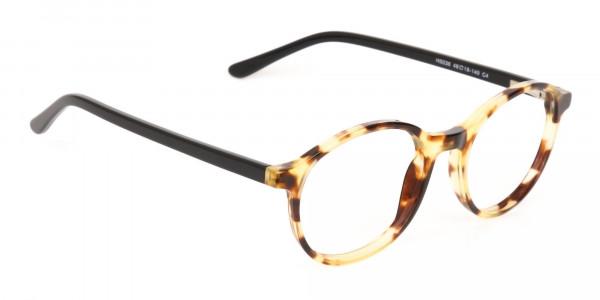 Tortoise and Black Round Eyeglasses Frame Unisex-2