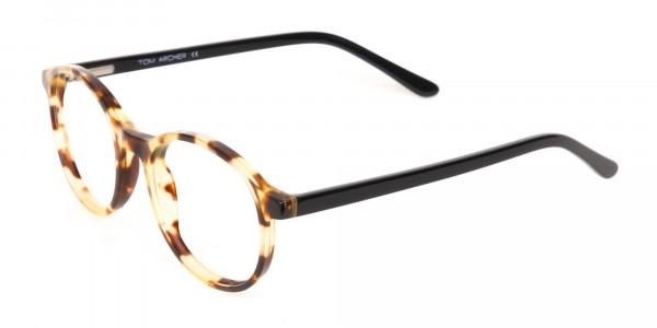 Tortoise and Black Round Eyeglasses Frame Unisex-3
