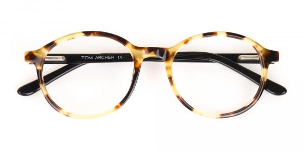 Tortoise and Black Round Eyeglasses Frame Unisex-7