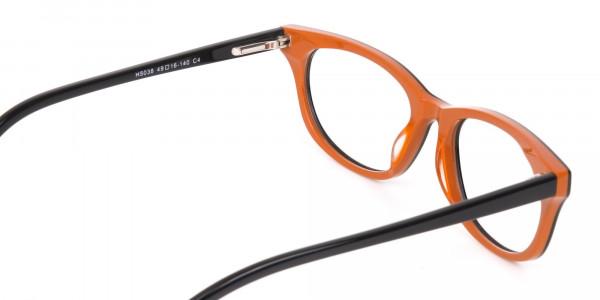 Petite Black and Orange Rectangular Glasses -5