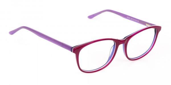 Berry Purple Rectangular Eyeglasses Frame Unisex-2