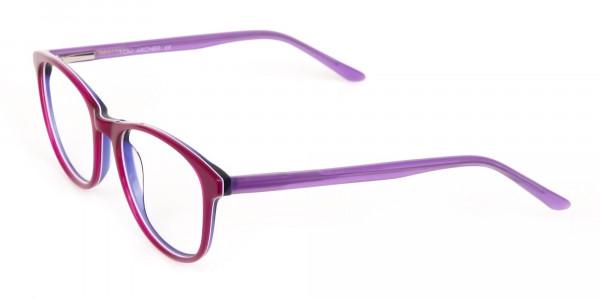 Berry Purple Rectangular Eyeglasses Frame Unisex-3