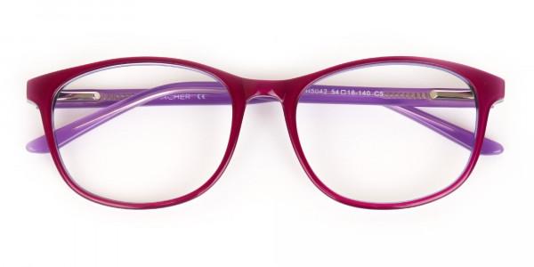 Berry Purple Rectangular Eyeglasses Frame Unisex-6