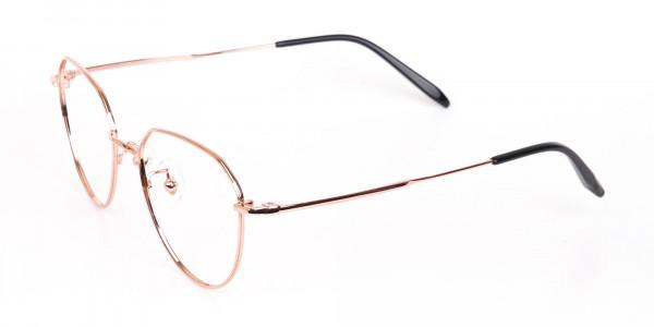 Rose Gold Metal Aviator Glasses Frame Unisex-3