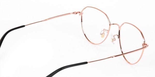 Rose Gold Metal Aviator Glasses Frame Unisex-5