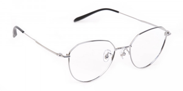 Silver Metal Aviator Glasses Frame Unisex-2