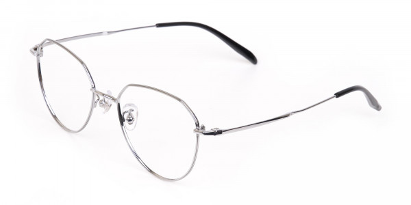 Silver Metal Aviator Glasses Frame Unisex-3