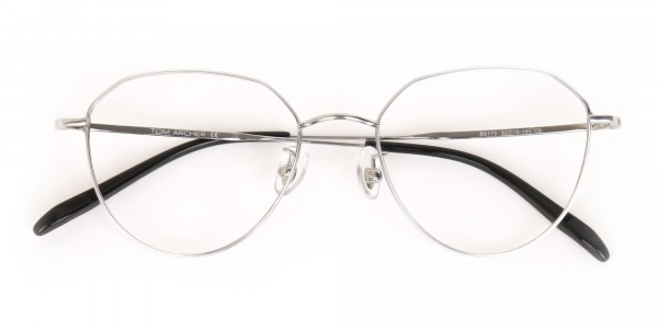 Silver Metal Aviator Glasses Frame Unisex-6