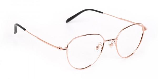 Rose Gold Metal Aviator Glasses Frame Unisex-2