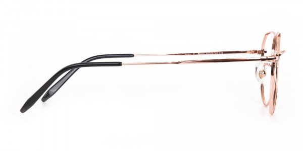 Rose Gold Metal Aviator Glasses Frame Unisex-4