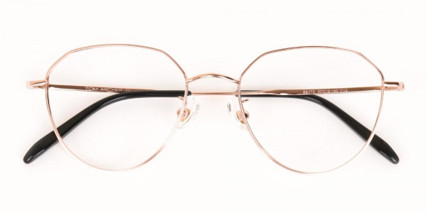 Rose Gold Metal Aviator Glasses Frame Unisex-6