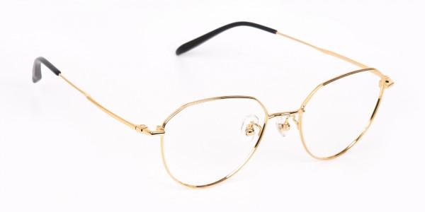 Gold Metal Aviator Glasses Frame For Unisex-2