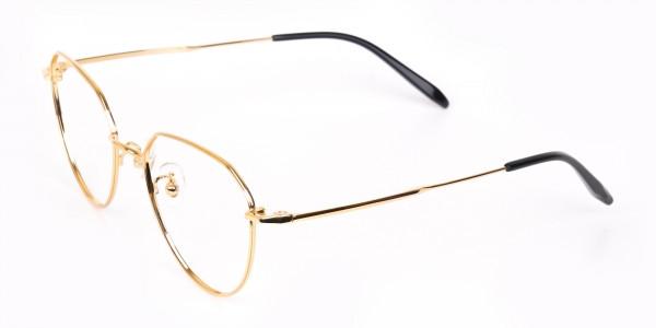 Gold Metal Aviator Glasses Frame For Unisex-3