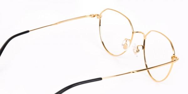 Gold Metal Aviator Glasses Frame For Unisex-5