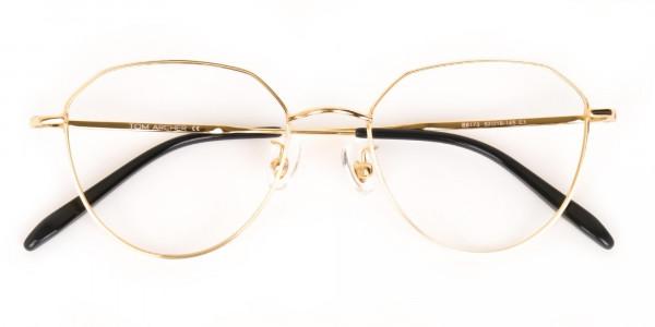 Gold Metal Aviator Glasses Frame For Unisex-6