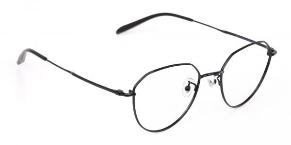 Black Metal Aviator Frames Glasses Unisex-2