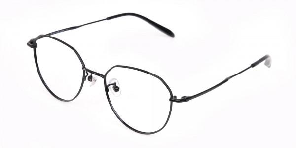 Black Metal Aviator Frames Glasses Unisex-3