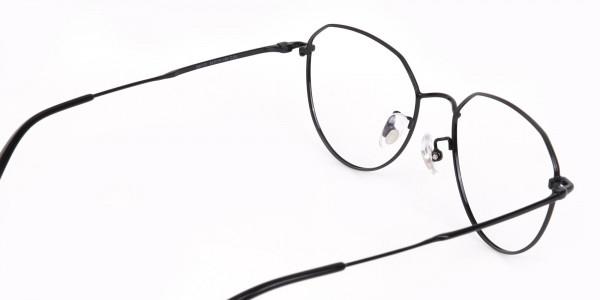 Black Metal Aviator Frames Glasses Unisex-5