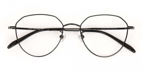 Black Metal Aviator Frames Glasses Unisex-6