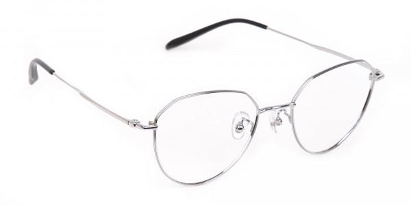 Silver Metal Aviator Glasses Frame Unisex-2