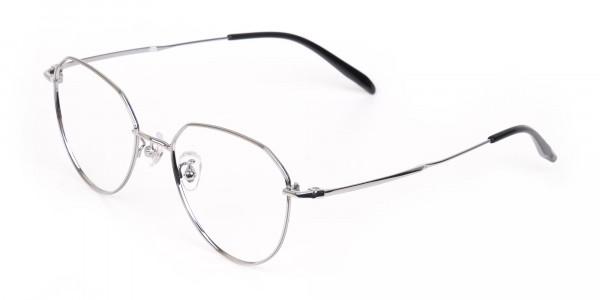 Silver Metal Aviator Glasses Frame Unisex-3