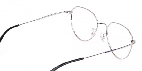 Silver Metal Aviator Glasses Frame Unisex-5
