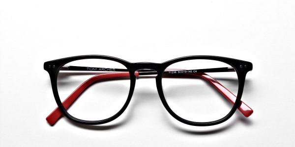 Black & Red Round Glasses, Eyeglasses -7