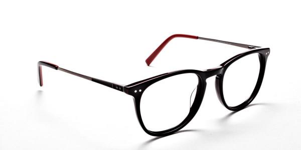 Black & Red Round Glasses, Eyeglasses -2