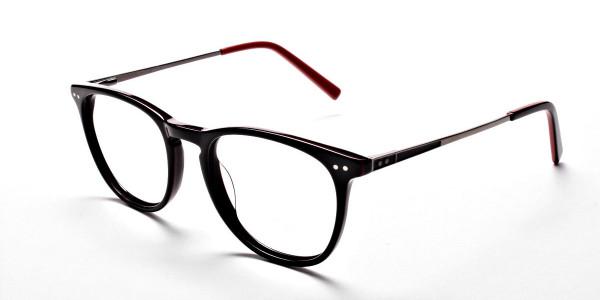 Black & Red Round Glasses, Eyeglasses -3