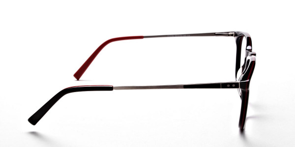 Black & Red Round Glasses, Eyeglasses -6