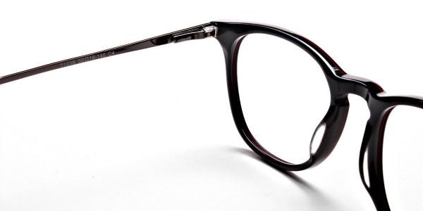 Black & Red Round Glasses, Eyeglasses -4