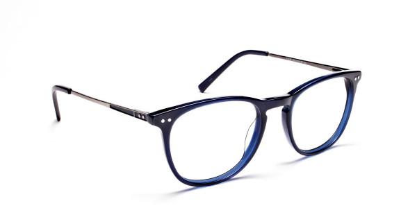 Dark Blue Round Glasses, Eyeglasses -2