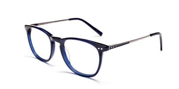 Dark Blue Round Glasses, Eyeglasses -3