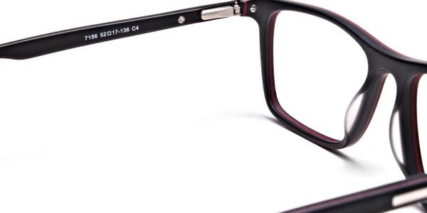 Back & Red Wayfarer Eyeglasses -4