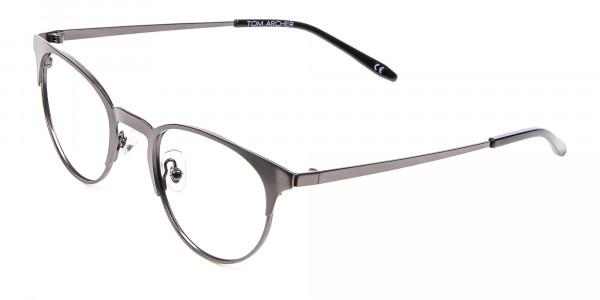 Dark Gunmetal Cat Eye Eyeglasses Men -3