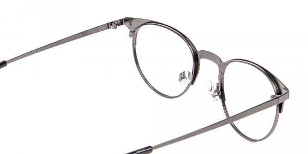 Dark Gunmetal Cat Eye Eyeglasses Men -5