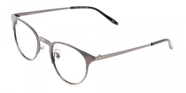 Gunmetal Cat Eye Eyeglasses Men -3
